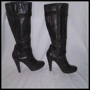 """Knee High Brown Boots 5"""" Heels"""
